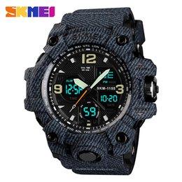 Relojes de alarma analógicos online-SKMEI marca de moda reloj deportivo para hombres reloj de cuarzo análogo LED digital reloj despertador para hombres reloj impermeable militar Relogio masculino 1