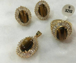 FREE SHIPPING +nicest noble 10*14mm red tiger eye stone earrings ring(#7-9) & pendant with chain jewerly sets