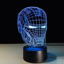 Ironman Head 3D Led Night Light Iron Man Marque Coloré USB LED Lampe de table Acrylique Éclairage Décoration Super-Héros Jouet ? partir de fabricateur