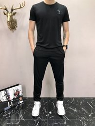 da8b12ea8ebc Spring New Summer Leisure Time Men s Wear Pig Embroidery Sleeve Head Short  Sleeve Trousers Youth Popular Male Style T T-shirt Suit