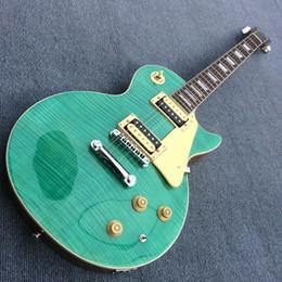 Flamme de guitare verte en Ligne-Custom shop guitare 1959 acajou corps vert éclater tigre flamme dessus, matériel de chromage, Chine guitare 180504