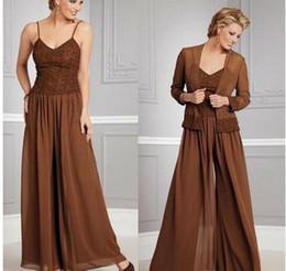 robes de mariée marron Promotion 2019 Brown dentelle mère de la mariée pantalon costume 2019 Plus la taille avec veste en mousseline de soie pour la noce Plus la taille robes de soirée