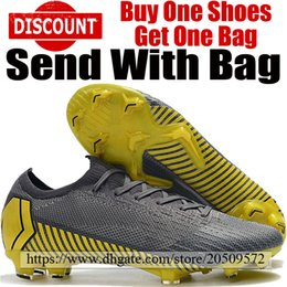 a7719e386 2019 New Mens Mercurial Vapors XII Elite 360 FG Football Boots Man ACC Soccer  Shoes Outdoor Soccer Cleats Grey Black Yellow With Bag