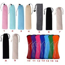 Tenedor cuchillo palillos online-Bolsa reutilizable para el acero inoxidable Metal Bambú Paja de beber Cubiertos Viajes Palillos de camping Cuchara Tenedor Cuchillo Bolsa de almacenamiento