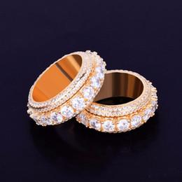 2019 anéis de diamante de strass 5 linha sólida dos homens anel 18 k charme de cobre cor de prata de ouro zircão cúbico anel de moda jóias de hip hop rotativo