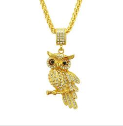 2019 colliers pendentif hibou diamant Nouvelle personnalité européenne et américaine de la mode hip-hop personnalité chouette collier pendentif diamant boutique hommes bijoux colliers pendentif hibou diamant pas cher