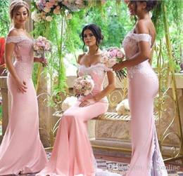 2019 lunghezza del tè chiffon lilla Incredibile rosa elegante off spalla sirena damigella d'onore abiti economici pizzo backless sexy plus size lungo damigella d'onore abito con bottoni