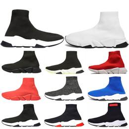 chaussettes à pied blanc Promotion Designer Speed Trainer Marque De Luxe Chaussures noir blanc rouge plat Chaussettes De Mode Bottes Baskets Mode Baskets Runner taille 36-45