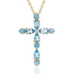Ciondolo croce cristallo blu online-D412 con cristallo bianco collana in argento femminile croce oro gioielli ciondolo ragazza all'ingrosso amore Slide più blu cristallo