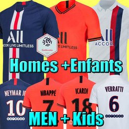 maillot de football orange Promotion MAILLOTS DE FOOTBALL PSG JORDAN 19 20 soccer jersey de la psg 2019 2020 maillot de foot Paris saint germain Champion NEYMAR MBAPPE ICARDI kit chemise PSG enfant SETS enfants
