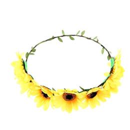 2019 bandeaux cheveux tournesols Bandeau tournesol Fleur Floral Couronne Bande Cheveux Couronne Headpiece promotion bandeaux cheveux tournesols