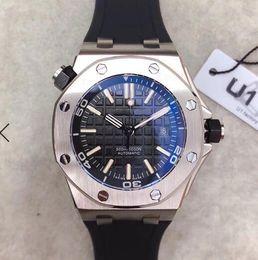 Reloj automático con respaldo de vidrio online-Proveedor de fábrica de lujo Royal Oak Offshore Diver 42mm Movimiento automático 15703 Series Cinturón de goma para hombre Dial negro Sports Glass Back Watches