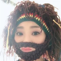 Peluca rasta online-Nueva moda unisex jamaicano de punto gorros peluca sombrero trenza Sombreros del partido Rasta Hair Hat con máscara para Navidad Halloween tocado