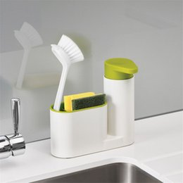 Prateleiras de pia on-line-2 Em 1 Multifuncional De Armazenamento De Cozinha Rack de Lavar Esponja Escova Pia Detergente Soap Dispenser Garrafa Organizador de Cozinha Gadgets
