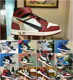 sapatos de borracha para mulheres china Desconto 2019 Alta OG 1 NRG Alta Branco Sapatos de Basquete Em Pó Azul 10X Chicago Produzido 1s Homens Sapatos de Ginástica Branco Preto Vermelho Fragmento Real UNC Sapatilha