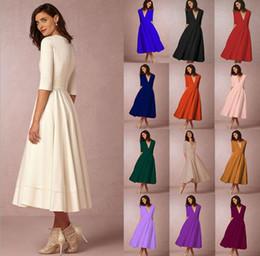 0701b295b4aa abito elegante invernale donna Sconti Vestito da mezza manica con scollo a  V profondo da donna