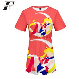 Japão mulheres vestidos on-line-Kpop Sailor Moon Vestido Kawaii 3D Impressão Harajuku Verão Vestido Dos Desenhos Animados Manga Curta Japão Estética Anime Mulheres