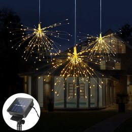 outdoor decoration lamps Coupons - DIY Fireworks Solar String lights For Garden Decoration Bouquet LED String Christmas Festive Fairy lights Outdoor Solar lamps