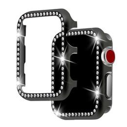 2019 diamante de manzana Cubierta de aluminio de diamante para Apple Watch 42mm 38mm Caja protectora con marco de diamantes de imitación de cristal Serie iwatch 3/2/1 Parachoques de metal rebajas diamante de manzana