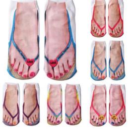 meias para adolescentes Desconto Mulheres 3D Meias 2019 Unisex Engraçado Emoji 3D Impressão Flip Flops Chinelos de Praia Meias Low Cut Tornozelo Meias Adolescentes Senhoras Engraçado Novidade Meia