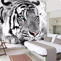 mural branco Desconto Papel de parede foto tigre preto e branco animais murais entrada quarto sala de estar sofá TV fundo papel de parede mural papel de parede arkadi