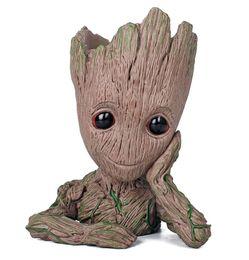 Modelo de recipiente on-line-Guardiões da galáxia flowerpot tree man bebê groot action figure pen recipiente boneca modelo bonito brinquedos de natal
