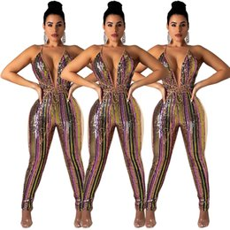 722651613ff New Colorful Stripe Sequins Bandage Jumpsuit Sexy Deep V Neck Spaghetti  Straps Night Club Party Outfits Women Romper Overall Plus Size