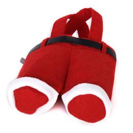 Bolsas de doces de calças de santa on-line-Venda quente Presente de Natal Santa calças de estilo de Natal doce saco de presente Saco de Natal Saco De Embalagem de Açúcar de Natal Sacos de Flanela
