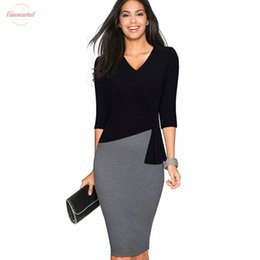 mulheres maduras vestido longo Desconto Madura elegante V-Neck Vestidos Vestido manga comprida Office Work Bodycon 3 4 Sleeve Bainha Mulheres de Negócios Wiggle vestido B333
