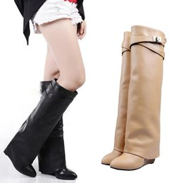 2020 ginocchio sopra cuneo stivali di pelle MStacchi Wedge Shark Lock Women Knee High Boots Slip-on Over Lady Motorcycle Boots Height Increasing Woman Genuine Leather 2020 sconti ginocchio sopra cuneo stivali di pelle