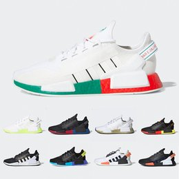chaussures ville de sport Promotion Adidas NMD R1 V2 Aqua Tones Munich NMD R1 V2 Mens Running shoes Mexico City Gold Metallic Core Black Bright Volt Athletic Men Women Sports designer sneakers
