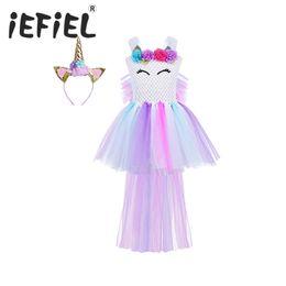 2020 cabelo de princesa Princesa traje vestido iEFiEL Meninas Floral Tutu com aro do cabelo para o aniversário do tema dos miúdos partido Cosplay Halloween vestir roupas desconto cabelo de princesa