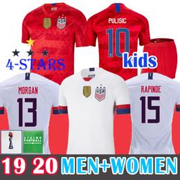 Miúdos de futebol dos eua on-line-4 Estrela 2019 Soccer Jersey USA Camisa de Futebol Copa Do Mundo Mulheres Camisas De Futebol RAPINOE PASTISTA DEMPSEY McKennie MORGAN Futebol LLOYD DOS EUA DOS EUA Camisas Miúdos