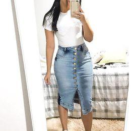 saia jeans longa Desconto E-BAIHUI Novo 2019 Primavera Verão Pacote Hip Saia Jeans Saias Saias Das Mulheres Passo Denim Saia Magro Senhora Feminina Saias Da Cintura saias Longas L433