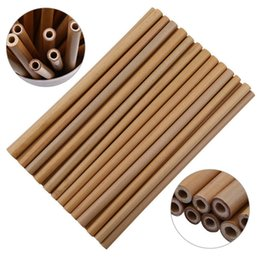 Paglie naturali online-Paglia di bambù Paglia riutilizzabile Cannucce di bambù organico Cannucce di legno naturale per il compleanno MMA1887 dello strumento di nozze di compleanno del partito