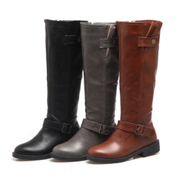 c8882155e30 New Women Chunky Low Heel Riding Boots Wide Calf Side Zipper And Buckle Knee  High Boots Winter Shoes Plus Size 43