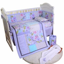 Комплект постельного белья из хлопка Hanbear 4шт / комплект, постельные принадлежности из хлопкового хлопка (одеяло + простыня + юбка + бампер) от