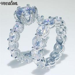 Vecalon любителей старинные обещание кольцо комплект стерлингового серебра 925 бриллиант обручальное обручальное кольцо кольца для женщин свадебные украшения от