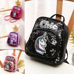 mochilas chic Rebajas 2019 Chic Sequin Unicorn Mochila 6 colores Bling Paillette Mochilas Niños Mini Bolso de hombro Mochilas escolares para estudiantes Mochila Mochila M186F