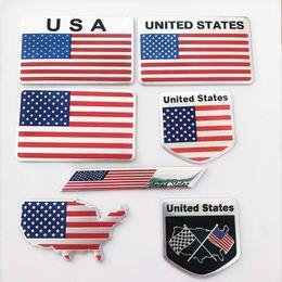 Bandeira americana da motocicleta on-line-Estados Unidos da bandeira dos EUA da liga de alumínio do emblema do emblema traseiro Americano mapa nacional Adesivos de carro motocicleta Auto decalques Decor
