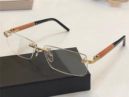 caixa de luxo artesanal Desconto Designer de luxo Vidros Ópticos 337 Eyewear Frameless Sênior de Madeira Artesanal K chapeamento de ouro Projeto Homens estilo de negócios de Alta Qualidade Com Caixa