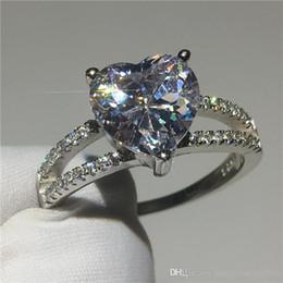 Pietre a forma di cuore gioielli online-Gioielli a forma di cuore 925 Anello in argento sterling 3 ct Diamante Cz pietra Fedi nuziali per le donne da sposa