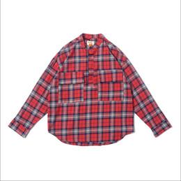 2019 rotes tartanhemd 18SSF GOD TARTAN-Musterhemdmänner und Frauenpaarmodelle arbeiten blaues Rot XS-L 1SF6608 der beiläufigen Art des karierten Hemdes um günstig rotes tartanhemd
