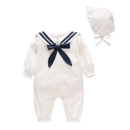 Macacão de manga branca on-line-Roupas infantis 2019 primavera roupas recém-nascidas branco da marinha vento macacão de bebê infantil macacão de manga comprida macacão com tampa