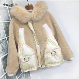 Fitaylor neue natürliche Fox Pelz Ente unten Jacken Frauen Mantel mit Kapuze Parkas Weiblich Lambswool Patchwork Glossy unten Outwear SH190920