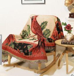 Manta de cachemira moda invierno Espesar Viaje en casa Patrón de pájaro cálido Tejido jacquard de lana manta borla sofá lateral tapiz toalla desde fabricantes