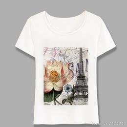 Moderno Vintage Lotus flor parisina París Torre Eiffel camiseta Moda de verano camiseta de las mujeres Tops Casual Camisetas Tees Harajuku desde fabricantes
