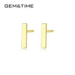modelli ornamenti d'oro Sconti GemTime Real Solid 14K Gold Dainty Mini Bar Orecchini a bottone per le donne Matrimonio fidanzamento Fine Jewlery Bar AU585 Pendientes E14091