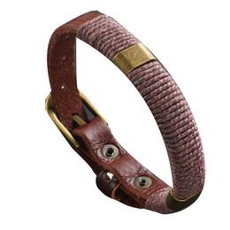 relogios pulseira de corda Desconto Homens Relógio Vintage Fecho Corda De Couro Do Falso Weave Wrap Pulseira Pulseira