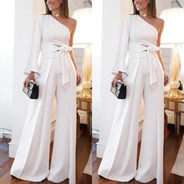 plus size winter jumpsuits Promo Codes - 2019 White One Shoulder Women Pant Suits Dress Poet Long Sleeve Cutaway Sides Wide Jumpsuits Women Casual Party Dress 2097